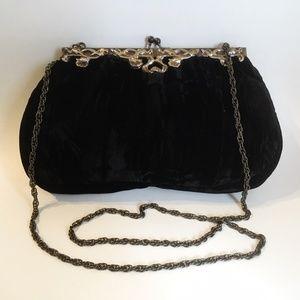 JR Black Velour Evening Shoulder Bag Purse Chain